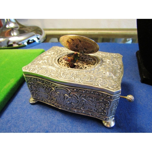 63 - Rare Victorian Solid Silver Decorated Shaped Form Automatim Revealing Pop Up Bird with Musical Accom...