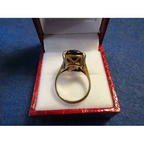 7 - Smoky Garnet Centre Stone Ring Oval Gold Mounted on 9 Carat Yellow Gold...