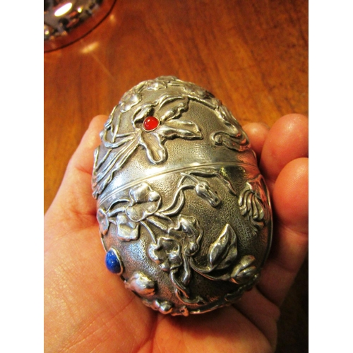 79 - Russian Egg Form Solid Silver Box with Inset Cabochon Cut Ends Embossed Decoration Marked Hallmarks ...