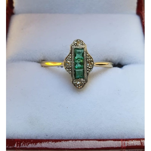532 - Platinum Mounted and 18 Carat Gold Set Princess Cut Ladies Emerald and Diamond Ring Three Emeralds S...