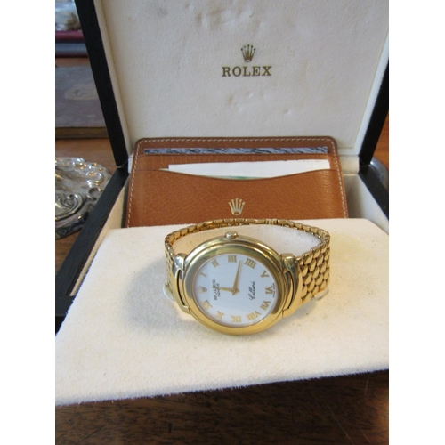 1 - Rolex Cellini Gentlemans Wristwatch 18 Carat Gold Case Bracelet and Clasp Roman Numeral Decorated Di...