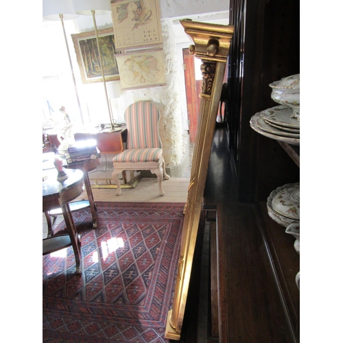 10 - Large Carved Giltwood Overmantle Mirror with Reeded Column Side Decoration Approximately 4ft 6 Inche...