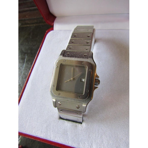 13 - Cartier Santos Galbee Wristwatch Original Box and Papers Model 2960 Purchased by the Vendor Approxim...