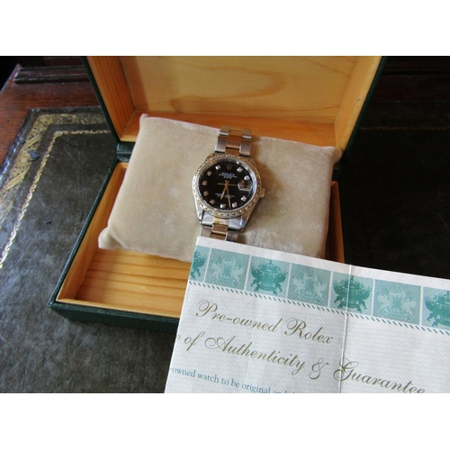 16 - Rolex Perpetual Wristwatch Datejust with 18 Carat Gold Bimetal Bracelet Diamond Decorated Bezel With...