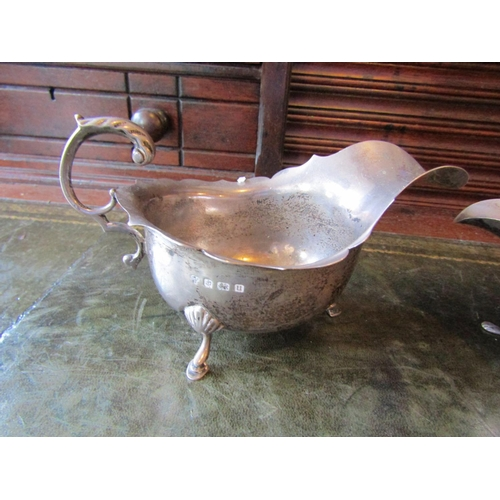 17 - Two Solid Silver Sauce Boats Antique...