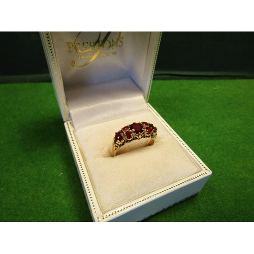 19 - Victorian 9 Carat Gold Garnet Set Ladies Cluster Ring...