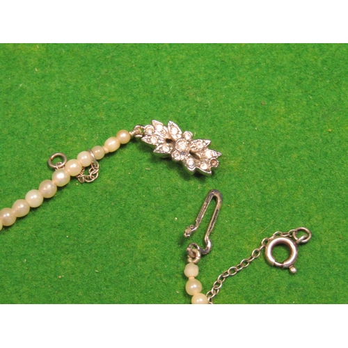 21 - Edwardian Pearl Single Strand Necklace Graduated Form with Seed Pearl Decorated Silver Clasp...
