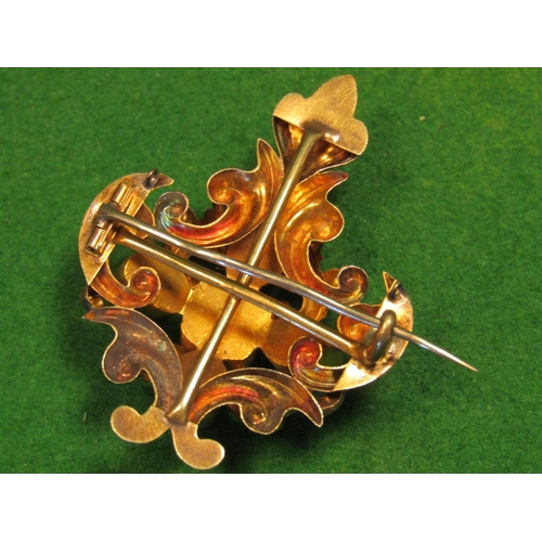 22 - Victorian 18 Carat Gold Garnet Set Brooch of Cartouche Form Fine Colour Good Weight...