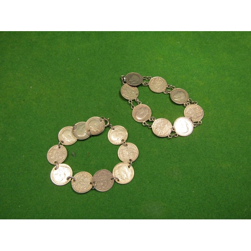 23 - Two Antique Solid Silver Coin Bracelets of Articulated Form...