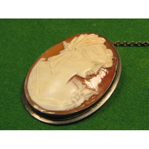 24 - Antique Cameo Classical Lady Side Profile 9 Carat Gold Bound with Safety Chain...