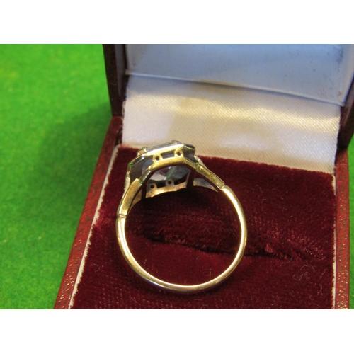 27 - 14 Carat Gold Mounted Platinum Set Cushion Cut Ladies Ring of Fine Colour Set with Aquamarine Center...