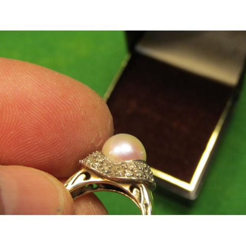 30 - Center Pearl Diamond Decorated Ladies Ring Set on 9 Carat Gold Band Ring Size L...