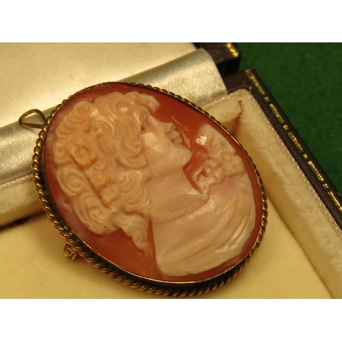34 - Edwardian 9 Carat Gold Bound Ladies Cameo Brooch with Pendant Fitting Depicting Lady in Side Profile...