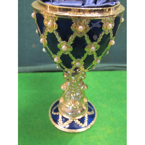35 - Unusual Pedestal Form Enamel and Gilt Decorated Goblet with Inset Clock to Hinged Cover Approximatel...