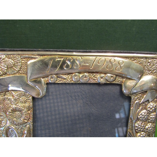 36 - Solid Silver Photograph Frame Australian Motifs Depicting Kangaroo Commemorating 100 Years 1788 to 1...