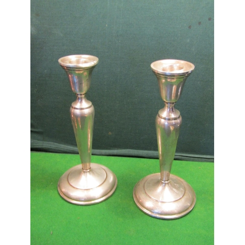 38 - Pair of Antique Solid Silver Candle Rests of Pedestal Form Each Approximately 9 Inches High...