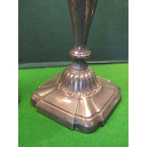 39 - Pair of Solid Silver Pedestal Form Candle Rests with Stylised Pedestal Decoration Each Approximately...