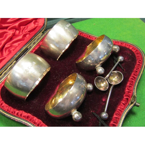 41 - Victorian Solid Silver Four Part Presentation Set Twin Napkin Rings and Twin Cruets with Spoons Cont...
