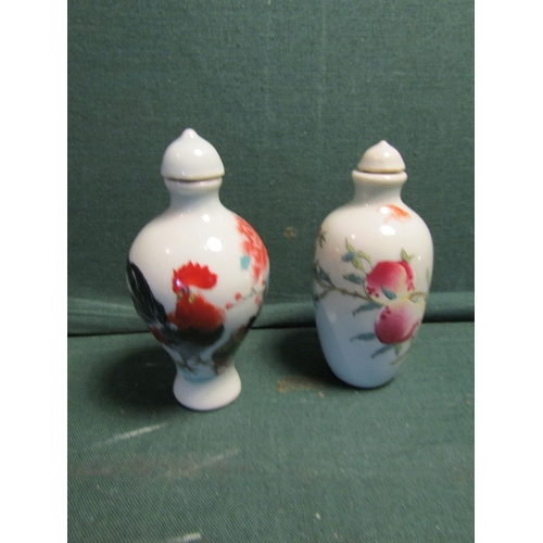 Two Chinese Snuff Bottles Fine Bone Porcelain One Depicting Cockerel