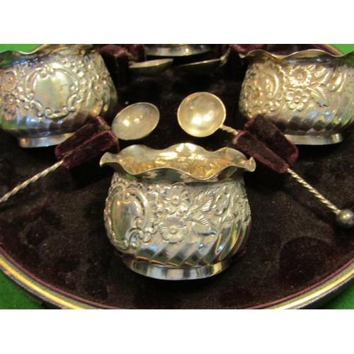 42 - Cased Set Victorian Four Solid Silver Shaped Form Bowls with Spoons Contained within Original Presen...
