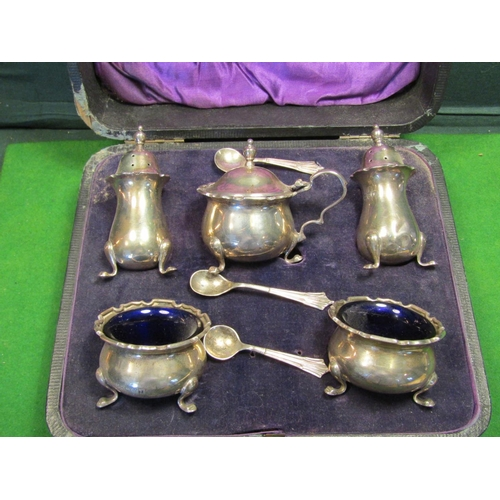 43 - Victorian Cased Set Solid Silver Salts Mustard Pot and Cruets with Spoons Contained within Original ...