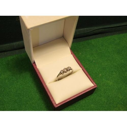 45 - 18 Carat White Mounted Gold Ladies Diamond Trilogy Ring of High Colour Ring Size L...