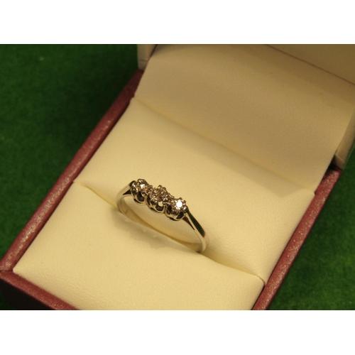 46 - 9 Carat Three Stone Ladies Diamond Ring Good Colour Ring Size J...