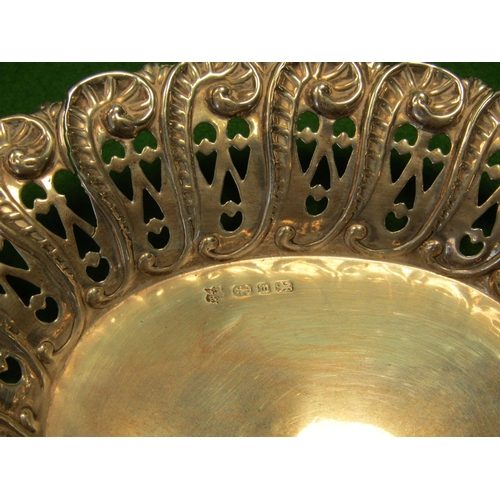 49 - Solid Silver Bon Bon Dish of Open Scroll Form Approximately 4 Inches Wide...
