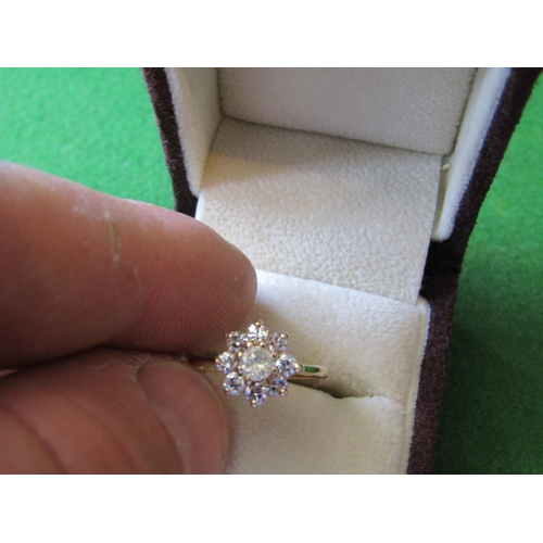 50 - 9 Carat Gold 8 Stone Diamond Rose Cluster Ring of High Colour Size K...