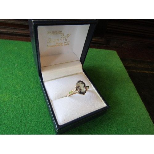 51 - Topaz Center Stone Oval Cut Ring Mounted on 9 Carat Gold Band with Attractive Six Double Claw Settin...