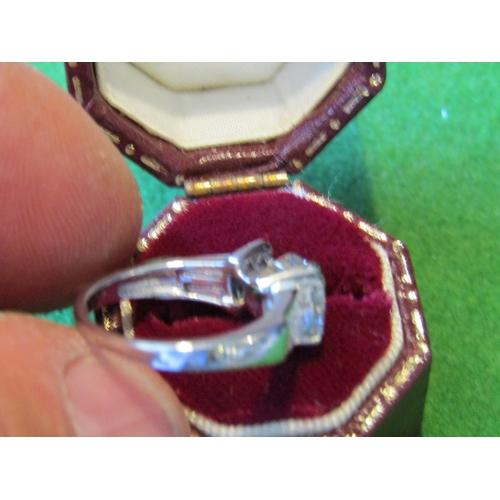 53 - Designer Platinum Set Diamond Ladies Ring with Central Emerald Cut Diamond Further Baguette Cut Diam...