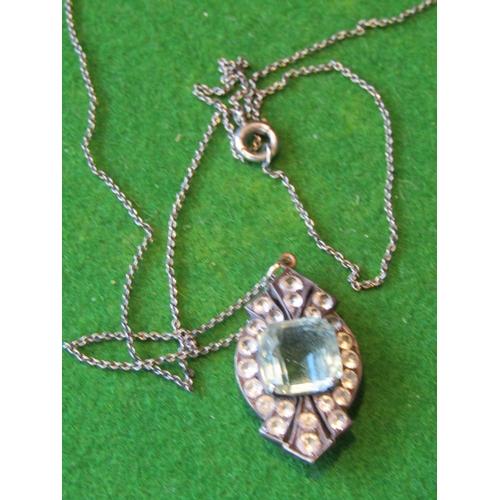 54 - Diamond Decorated Aquamarine Ladies Pendant Necklace on White Gold Chain...