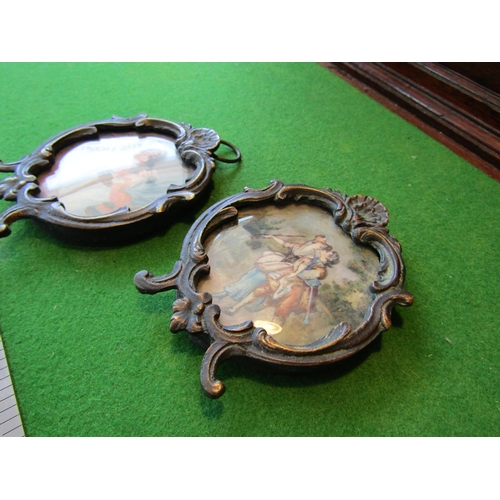57 - Pair of Rococo Framed Miniatures Depicting Elegant Ladies Each Approximately 3 Inches High...
