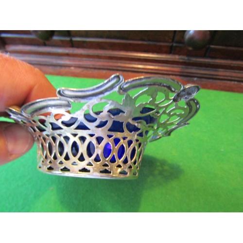 58 - Antique Solid Silver Cruet Dish with Filigree Decoration Original Blue Glass Liner...