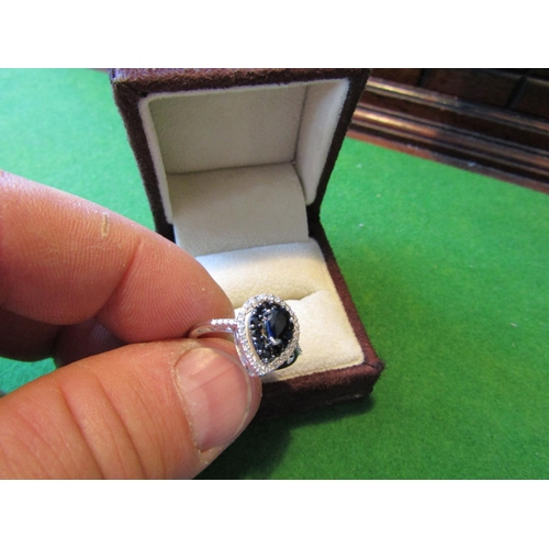 59 - Sapphire and Diamond Ladies Ring Mounted on 10 Carat White Gold Band with Surrounding Row of Diamond...