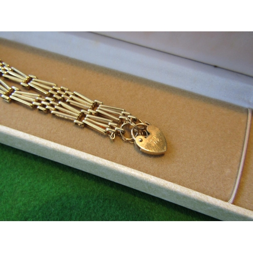60 - Ladies 9 Carat Gold Gate Link Articulated Bracelet with Heart Motif Shaped Locket Clasp...