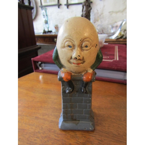 9 - Antique Humpty Dumpty Cast Iron Money Bank Approximately 7 Inches Tall...