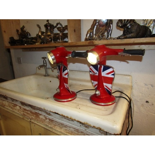 Pair of Vespa Table Lamps Enamel Painted Metal Electrified Working Order Each Approximately 14 Inches High