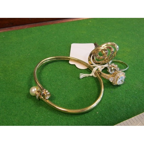 Gold Filled Ladies Pearl Decorated Bangle with Three Rings One Solid Silver and Two Rings Gilt Silver Four Items in Lot