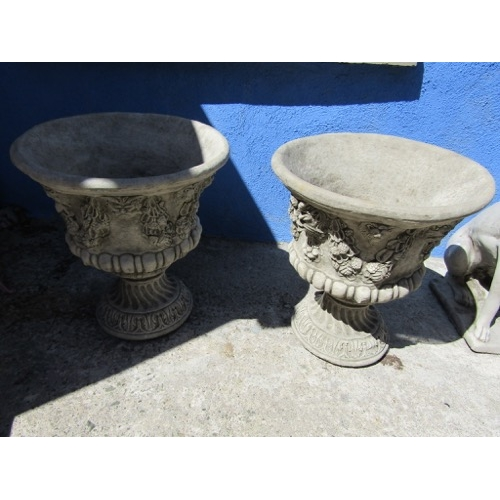 Pair of Composite Stone Garden Urns Each Approximately 26 Inches High