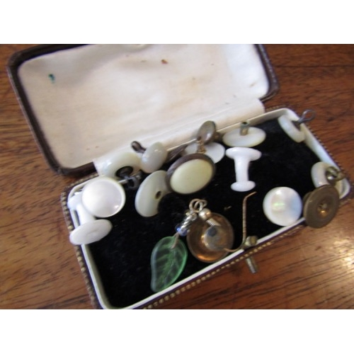 Collection of Various Collar Studs Edwardian and Victorian contained within Case