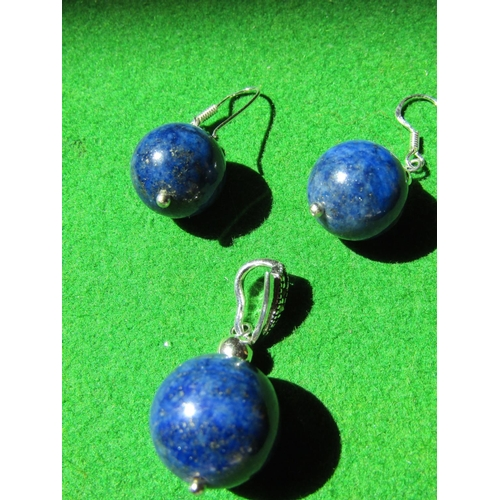 Pair of Lapis Lazuli Solid Silver Mounted Ladies Drop Earrings with Matching Solid Silver Mounted Necklace Pendant Three Items in Lot