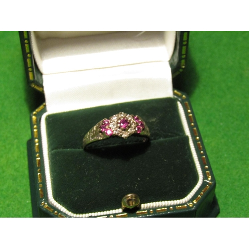 Ruby and Diamond 9 Carat Gold Ladies Ring Size P