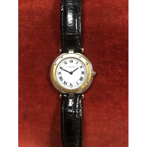 47 - Cartier Ladies Santos Ronde Wristwatch with Steel Case and Gold and Metal Bezel Signed Quartz Calibr...