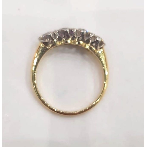 575 - Four Stone Diamond Ring on 18 Carat Yellow Gold on Platinum Crown Four Stones Total Weight Approxima...