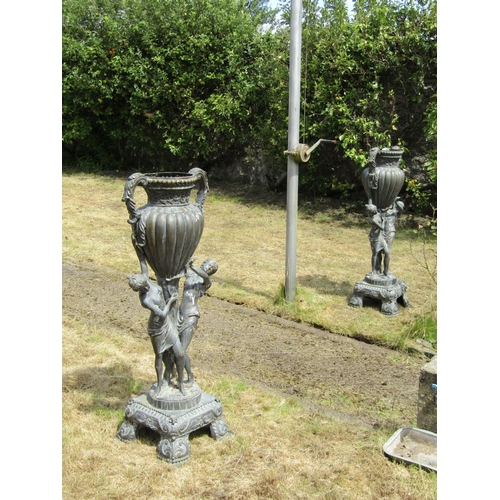 1004 - Pair of Antique Bronze Garden Urns with Figural Decoration Twin Handled Each Approximately 5ft High...