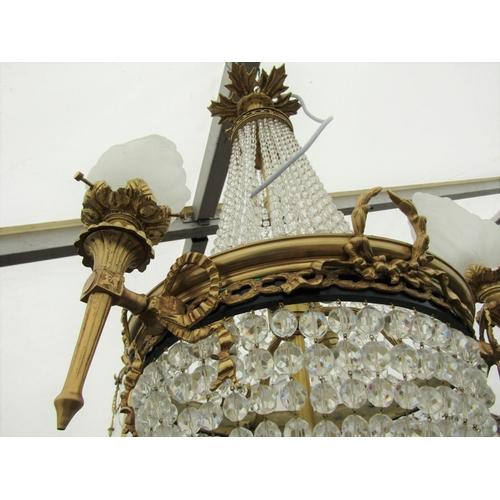 1005 - Ormolu Mounted Cut Crystal Decorated Ceiling Light with Three Flame Motif Shades Now Electrified Wor...