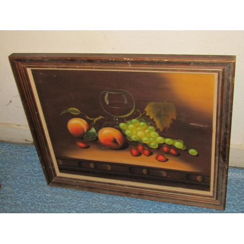 Still Life Oil on Canvas Approximately 20 Inches High x 32 Inches Wide Framed Signed Indistinctly Lower Right