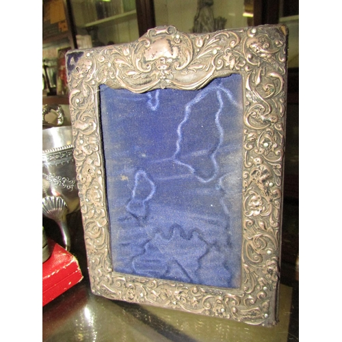 Antique Solid Silver Photograph Frame with Embossed Decoration Approximately 9 Inches High x 5 Inches Wide