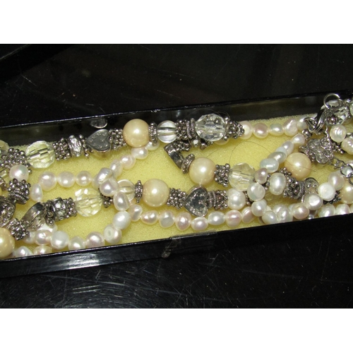 Ladies Pearl and Quartz Decorated Solid Silver Mounted Necklace of Baroque Form